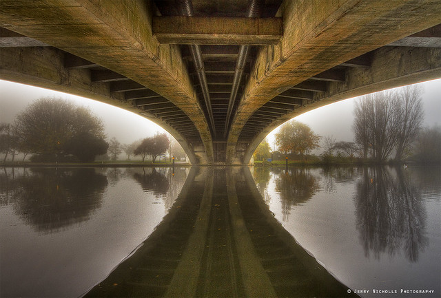 Underneath the Thames bridge