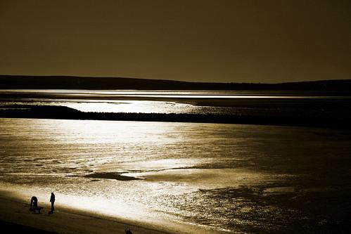 sea reflection beach silhouette landscape bay sand llanelli