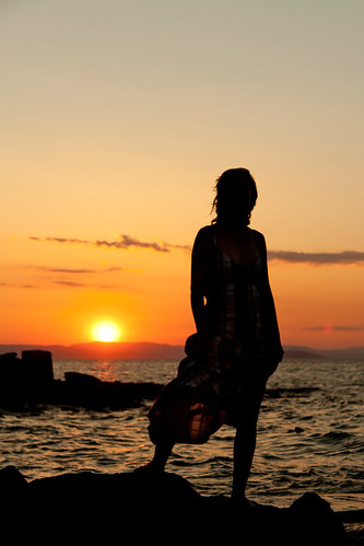 ocean light sunset woman sun beach water girl beauty silhouette female stand view curves croatia rab oceanwoman