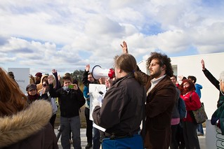 11_1_11 Occupy UMass Boston Community Protest at the Inauguration of UMass President Caret at JFK Library-09