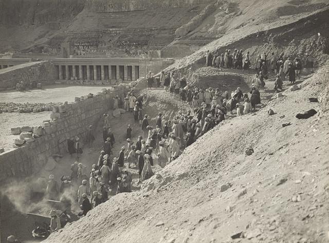 Progress of the Work, Hatshepsut's Temple, 1929, by Harry Burton