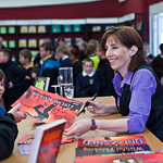 Ali Sparkes | Ali Sparkes signs copies of her book for her young fans
