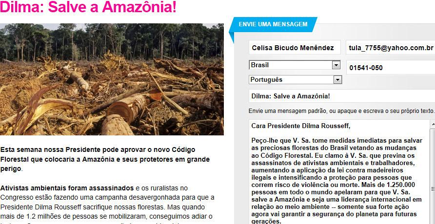 Dilma Salve A Amazônia Queridos Amigos Eu Recebi Este E