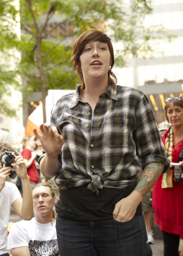A woman speaks during General Assembly, at the Occupy Wall Street protests.