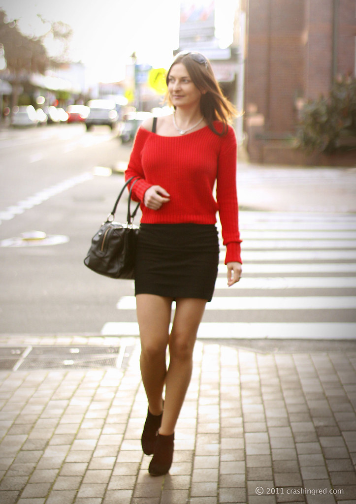 2c176dcf60e ... Styling red jumper and mini skirt