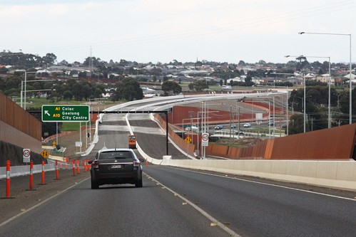 Almost ready to drive on: Geelong Ring Road stage 4A crosses the Waurn Ponds Creek