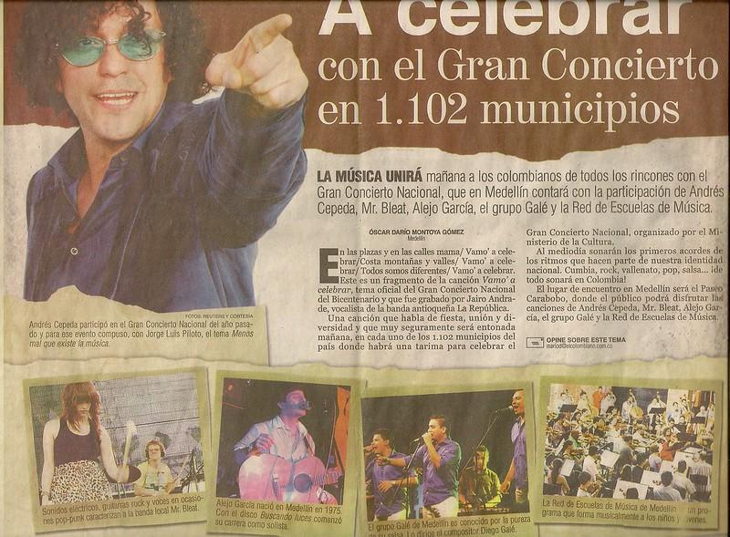 Periódico El Colombiano Julio 19 de 2010