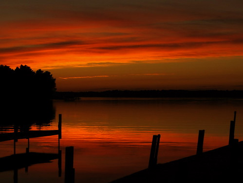 sunset red orange lake minnesota september