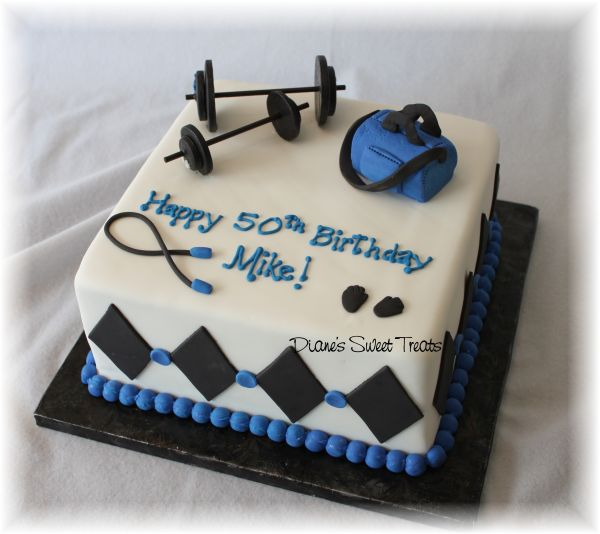 Enjoyable 50Th Birthday Cake For Body Builder Weight Lifter A Photo On Personalised Birthday Cards Arneslily Jamesorg