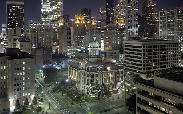 Houston Skyline and 1910 Courthouse