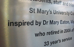 Detail of brushed stainless steel plaque
