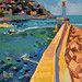 'The breakwater, Nice; 25x33cm; Gouache on board