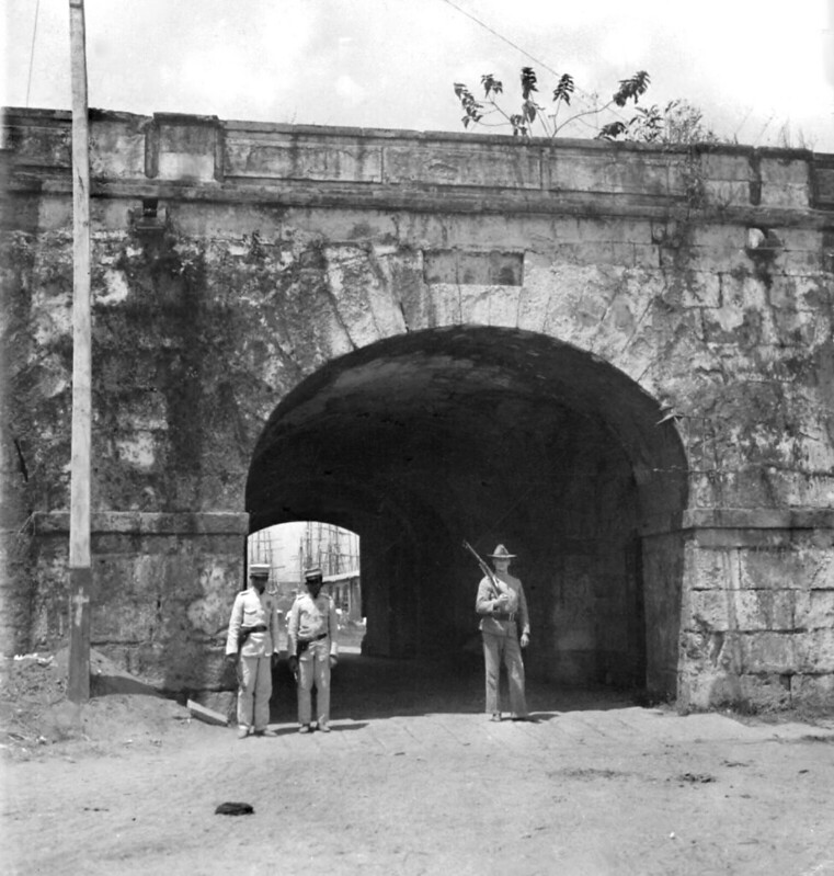 Inside  Puerta de Almacenes Gate, Intramuros, Manila, Philippines, late 19th or early 20th Century