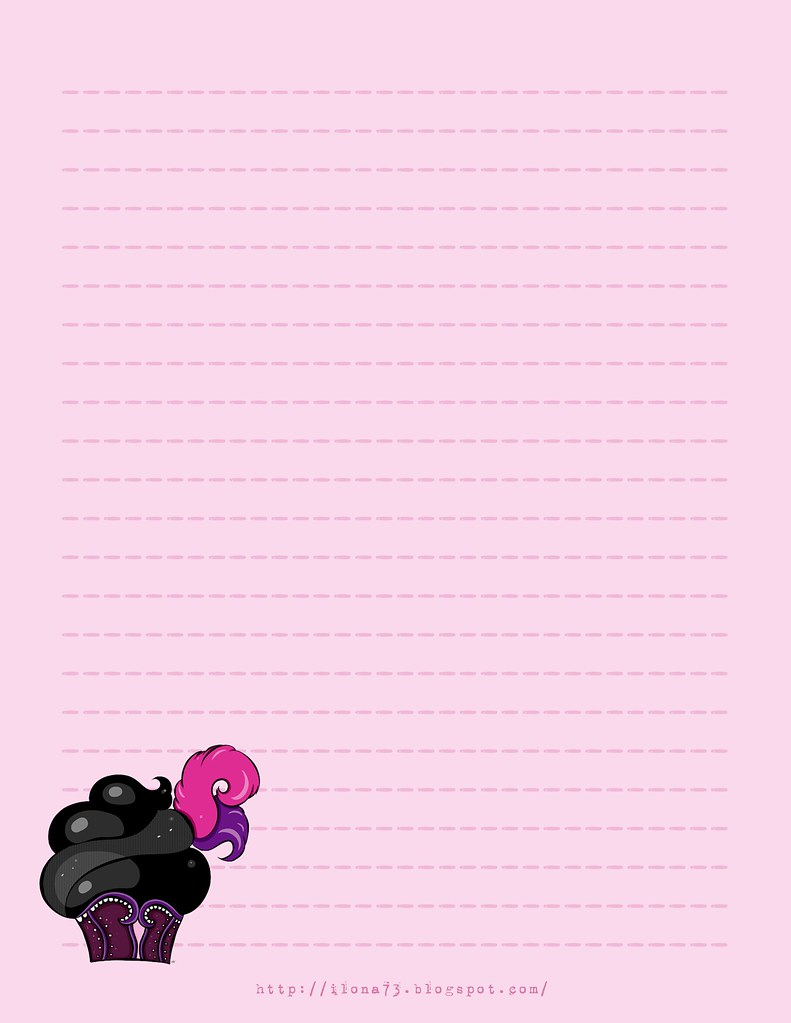 graphic about Free Printable Stationary identified as Cost-free Printable Stationary - Purple Black Cupcake Everybody ma