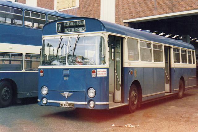 80 (1), WEX 680M, AEC Swift, ECW Body B43D, 1974 (t.1985)