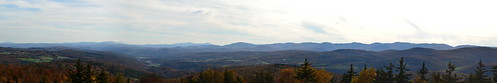 park autumn trees white mountains green tower fall forest fire vermont state panoramic valley views brookfield vt allis