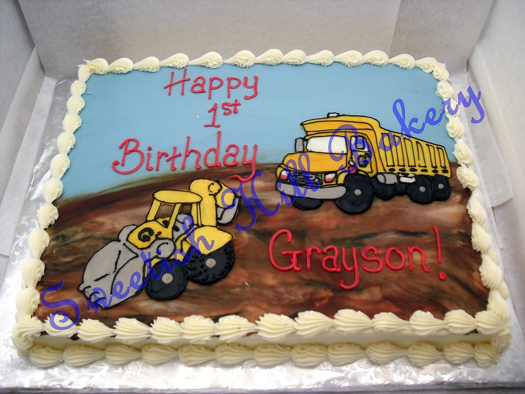 Terrific Dump Truck Birthday Cake Custom Decor On A 1 2 Sheet Cake Flickr Funny Birthday Cards Online Elaedamsfinfo
