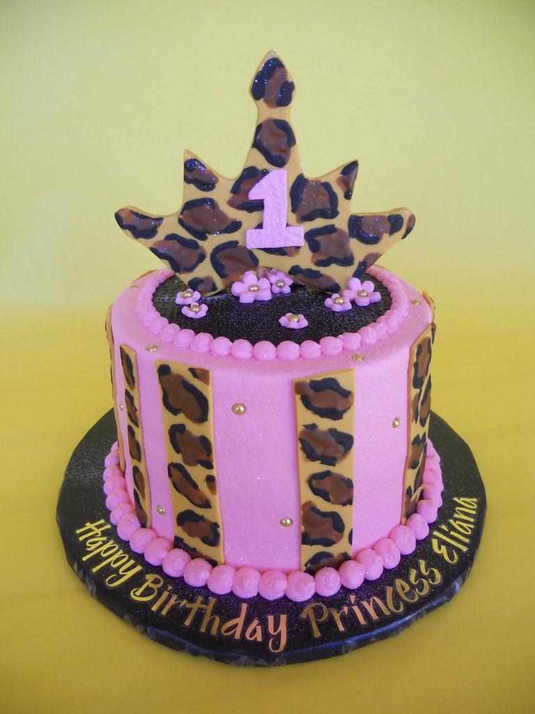 Enjoyable Pink And Leopard Tiara 1St Birthday Smash Cake Amy Stella Flickr Funny Birthday Cards Online Elaedamsfinfo