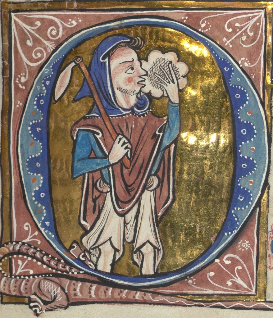 Carrow Psalter Fool With Bladder On Stick Eating Cusped L