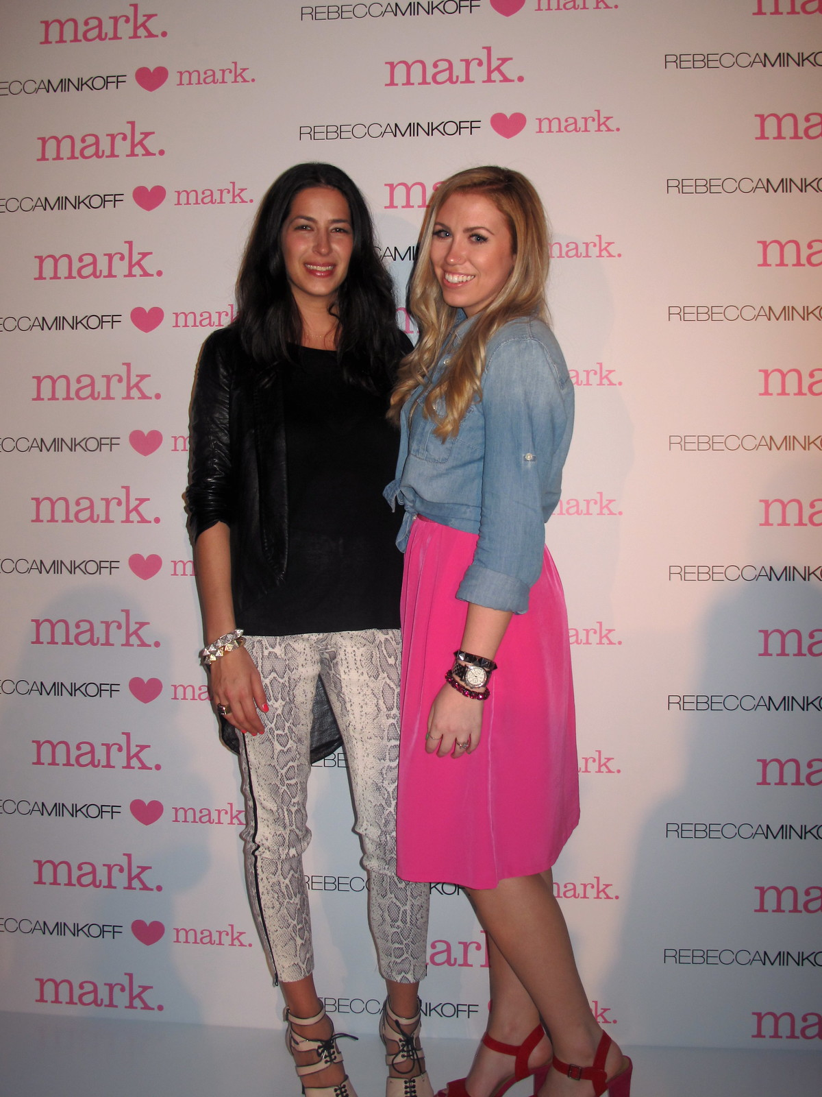 Rebecca Minkoff HEARTS mark. Delight Bag Release Party 2012 | Denim Shirt | Pink Midi Skirt | A Look Back at 10 Years of Blogging Living After Midnite Blogger Jackie Giardina