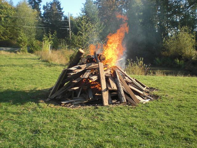 Burn pile started.