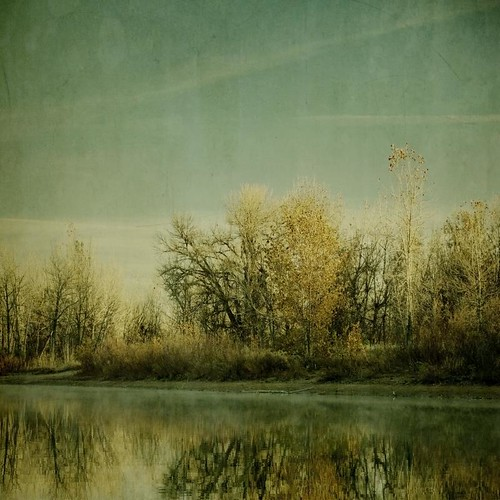 morning light sky lake reflection fall water fog canon vintage square colorado shore cottonwood aged textured texturesquared t1i chattfield