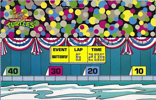 """TURTLE GAMES"" TEENAGE MUTANT NINJA TURTLES :: SUPER-SWIMMIN' RAPH .. card backer iii  // Pool & Grandstand - isolated (( 1992 )) by tOkKa"