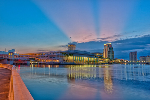 reflection sunrise tampa dawn florida nik bayshore hdr topaz hillsboroughriver tampaconventioncenter oloneo