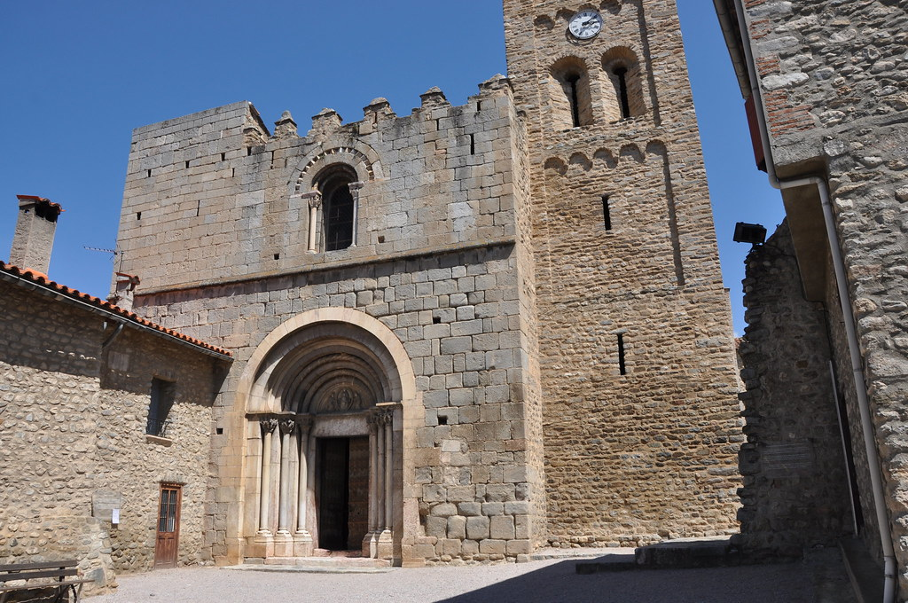 Cornellà de Conflent. Church of St. Mary, formerly a monastery of regular canons. Facade. 12th C.