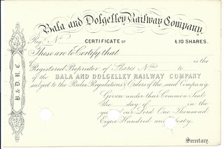 Bala and Dolgelley Railway share certificate unissued and cancelled in 1860 | by ian.dinmore