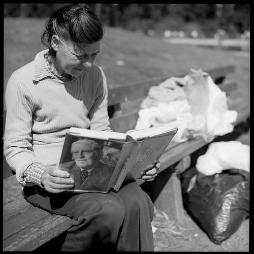 Homeless Woman Reading Page Smith 83082805