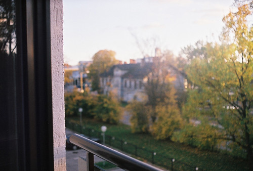 autumn trees house film window leaves analog 35mm parkinglot estonia view bokeh zenit eesti zenitet
