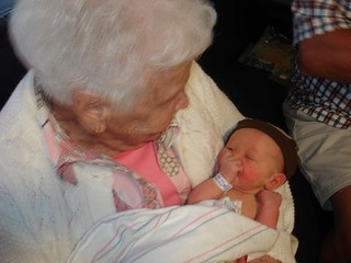 "Pic of @Gam (my grandmother!) telling ""The Rabbit Story"" to my brand new niece (@maddiecrow) #cuteoverload 