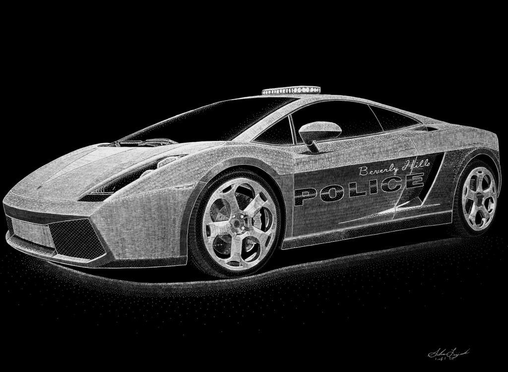 An41 Lamborghini Car Exotic White Art: Lamborghini Gallardo Italian Police Car (hand Engraving) B
