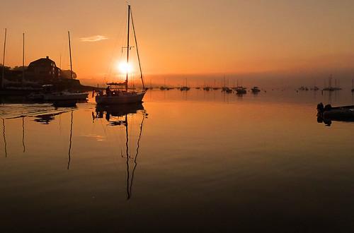 sun sunrise day waterfallguy camdenmaineharbordawnsunriseboatcanon pwpartlycloudy