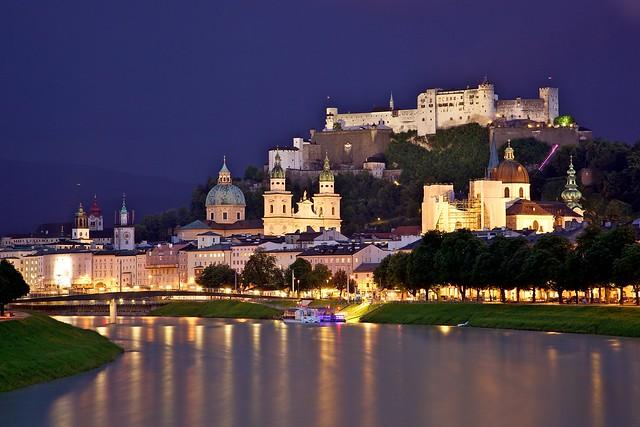 Old Town Salzburg across the Salzach river