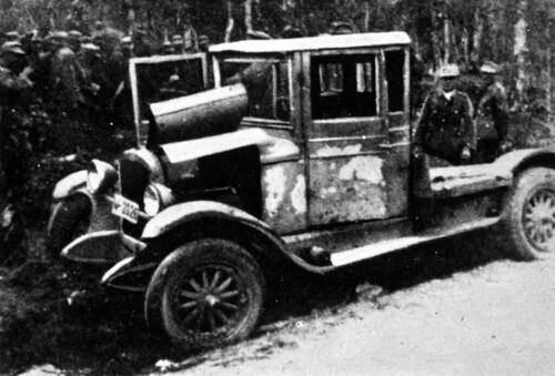 Lastebilen til Barkhald som bergjegerne brukte under et overraskelsessangrep på Viskiskoia bru
