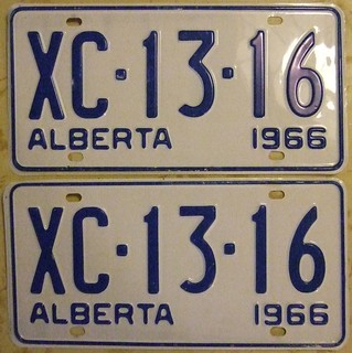 ALBERTA 1966 LICENSE PLATE PAIR (XC-13-16)  WITH MATCHING REGISTRATION ---PIC 1, THE PLATES