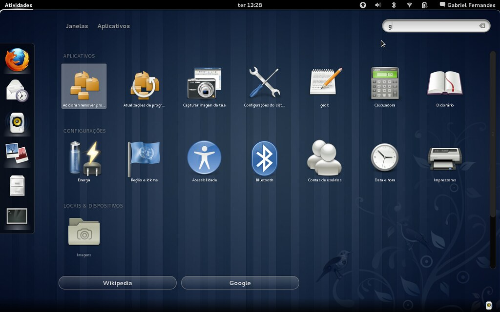 Fedora 15 - Busca no desktop, Google e Wikipedia