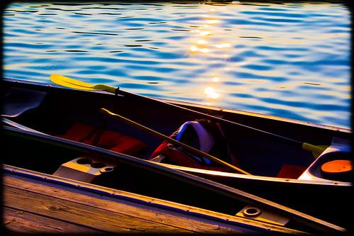 sunset lake dock pond paddle canoe lifevest