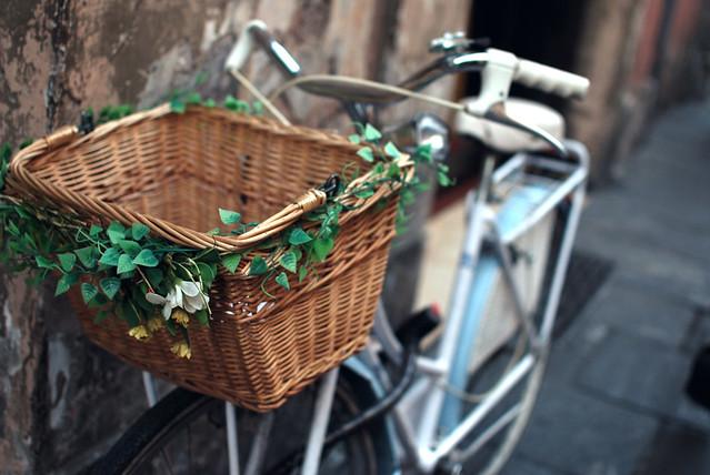 Decorated bike basket