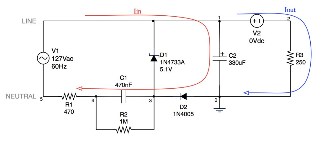 Capacitive Transformerless Power Supply - used in SPICE si