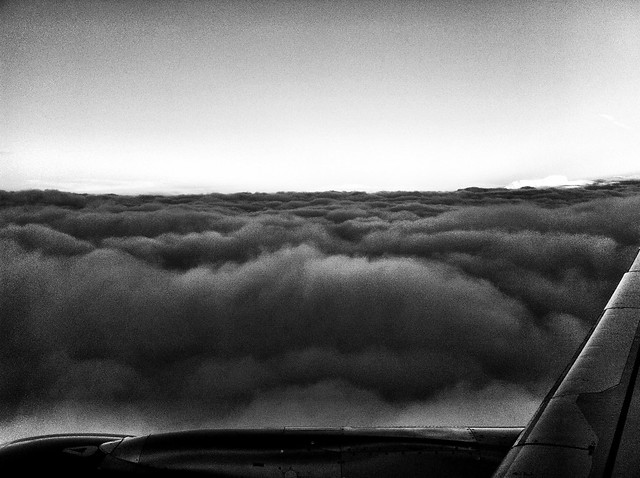 Flying over a storm