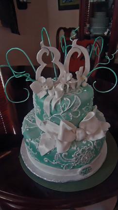 Aqua Birthday Cake