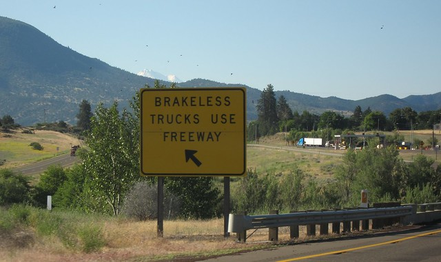 Brakeless Trucks Use Freeway