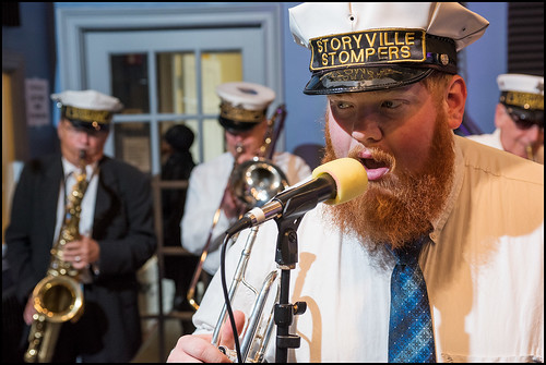Doyle Cooper sings with the Storyville Stompers perform at the WWOZ Studio on day 1 of the Spring Pledge Drive. Photo by Ryan Hodgson-Rigsbee www.rhrphoto.com