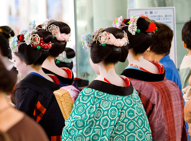 Geiko (Geisha) and Maiko at Kyoto Station