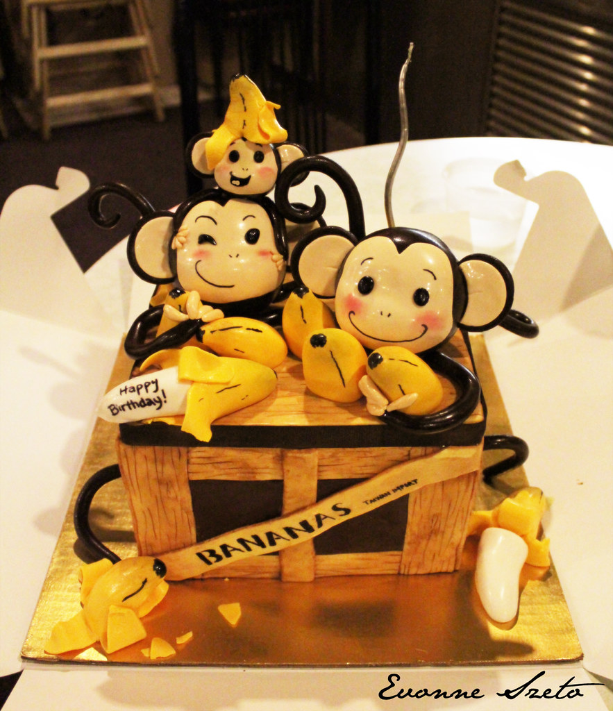 Awe Inspiring Monkey Cake Happy Birthday To My Hubbie Victor U Funny Birthday Cards Online Alyptdamsfinfo