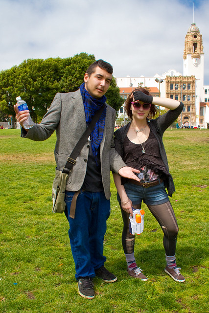 Hipsters vs Hippies water balloon showdown: hipster duo