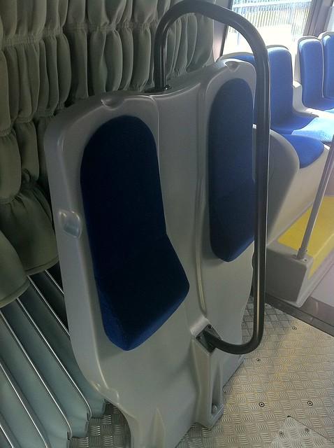 Inside the accordion on the Nova Bus